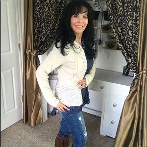 Anthropologie / Mystree Lace Zipper Ivory Jacket M